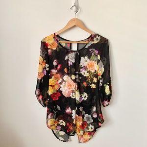 Suzy Shier Floral Sheer Chiffon Blouse~Tunic
